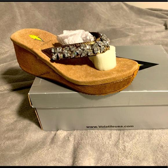 Volatile Rock Candy bronze platform sandals